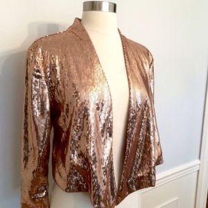 Kardashian sequined rose gold cropped drape jacket